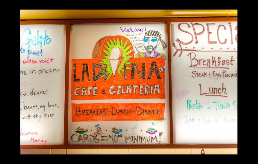 Menu board at La Divina Gelateria in New Orleans