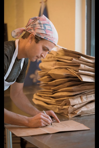 Writing on brown bags